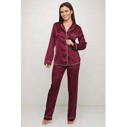 Женский комплект брючная шелковая пижама 028 слива