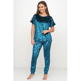 Женский комплект бархатная пижама футболка и штаны 019 изумруд