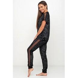 Женский комплект бархатная пижама футболка и штаны 019 черный