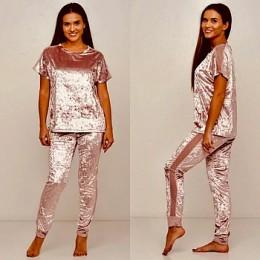 Женский комплект бархатная пижама футболка и штаны 019 пудра