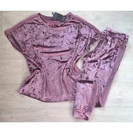 Женский комплект бархатная пижама футболка и штаны 019 сирень