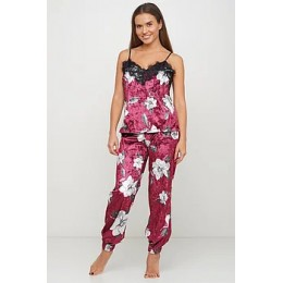 Женский комплект майка шорты и штаны для отдыха 090 бордо жасмин