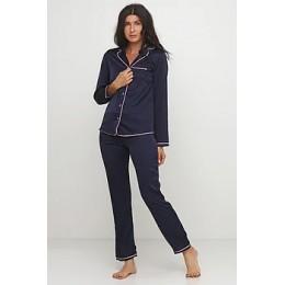 Женский комплект брючная шелковая пижама 028 чернильно-синий