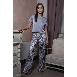 Женский комплект для дома штаны и футболка 059 серая абстракция