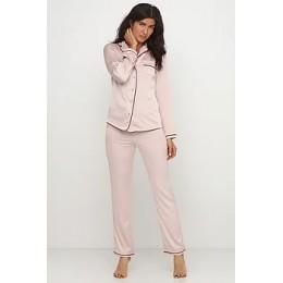 Женский комплект брючная шелковая пижама 028 бежевый