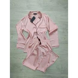 Женский комплект брючная шелковая пижама 028 персик