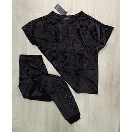 Женский комплект бархатная пижама футболка и штаны 019 черный серебро