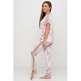 Женский комплект бархатная пижама футболка и штаны 019 нежно-розовый
