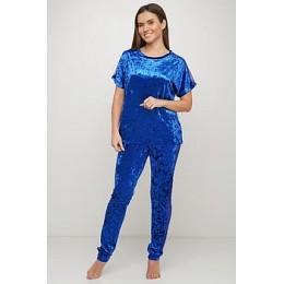 Женский комплект бархатная пижама футболка и штаны 019 электрик