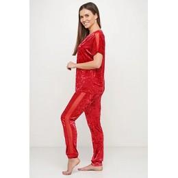 Женский комплект бархатная пижама футболка и штаны 019 красный