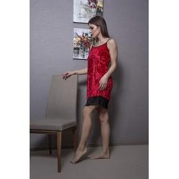 Женский бархатный пеньюар с кружевом 053 красный