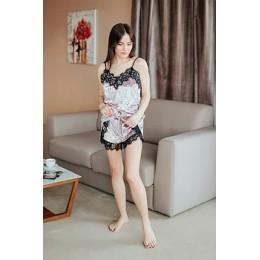 Женская бархатная пижама с кружевом 066 пудра