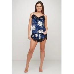 Женская бархатная пижама с кружевом 066 синий жасмин