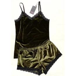 Женская бархатная пижама майка и шорты 210 олива