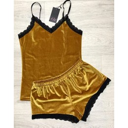 Женская бархатная пижама майка и шорты 210 горчица