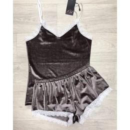 Женская бархатная пижама майка и шорты 210 капучино