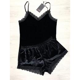 Женская бархатная пижама майка и шорты 210 черный