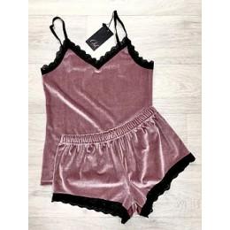 Женская бархатная пижама майка и шорты 210 розовый