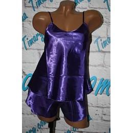 Женская атласный комплект майка шорты 2 фиолетовый