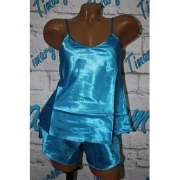 Женская атласный комплект майка шорты 2 голубой