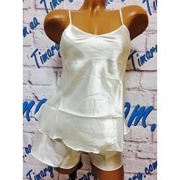 Женская атласный комплект майка шорты 2 белый