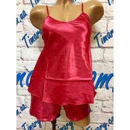 Женская атласный комплект майка шорты 2 бордовый